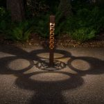 Celtic Design Light Bollard 2x2 at Night with Shadow Design