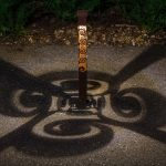 Spiral Design Light Bollard 2x2 at Night with Shadow Design
